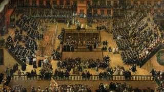 Pintura mostra dezenas de pessoas enfileiradas, em uma configuração parecida com um anfiteatro