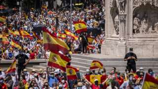Thousands gather in Madrid's Colon Square
