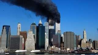 As torres do World Trade Center em chamas