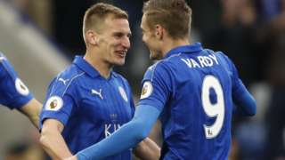 Albrington celebrates with Vardy