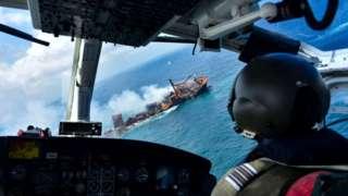 Sri Lankan Air force image shows ship sinking. 2 June 2021
