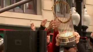 Red Sox fan damages World Series trophy with beer can