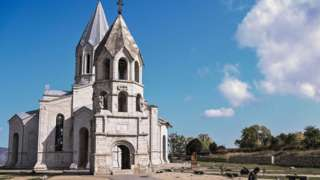 Holy Saviour Cathedral in Shusha, Nagorno-Karabakh, on 8 October 2020