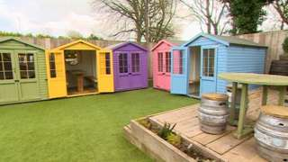 The former beach huts in the pub garden