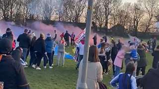 Rangers fans gather in Corby