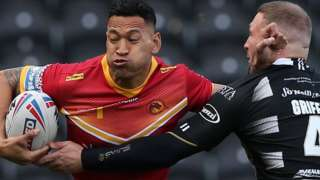 Israel Folau's first appearance for Catalans in England
