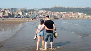 Young couple in the sea at Scarborough