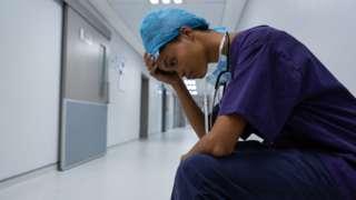 Black nurse in hospital