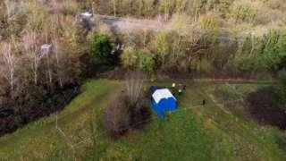 Drone picture of where the human bones were found near Hardingstone