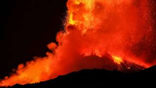 Lava spewing from the top of Etna