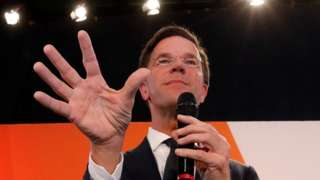 Dutch Prime Minister Mark Rutte appears before supporters in The Hague, Netherlands, March 15, 2017