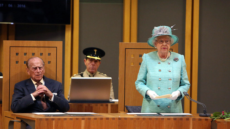 Prince Philip and the Queen in the Senedd in 2016