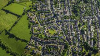 Aerial view of a rural development