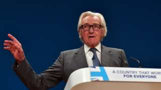 Michael Heseltine giving a speech at the Conservative Party conference.
