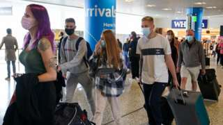 Passengers arriving at Birmingham Airport on Monday 11 October