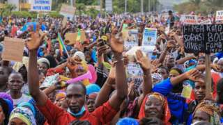 Malian civilians gather in support of the coup
