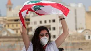 Anti-government protester in Beirut (22/04/20)