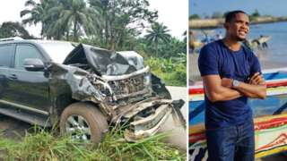 A 4x4 vehicle that was involved in a collision and carrying former footballer Samuel Eto'o