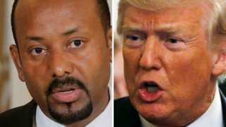 A composite image of Ethiopia's premier Abiy Ahmed and US President Donald Trump.