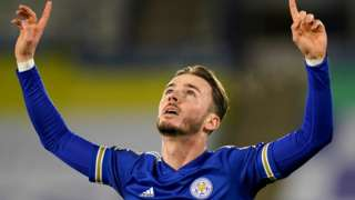 James Maddison celebrates scoring for Leicester against Southampton