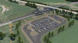 Illustration of planned new station at Dalcross