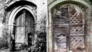 Black and white photo and a recent colour photo of the gates