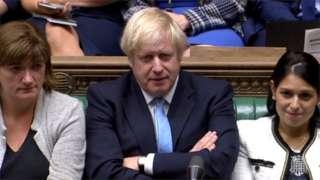 PM Boris Johnson (c) with Nicky Morgand and Priti Patel