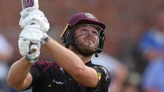 Somerset's Corey Anderson hits a boundary