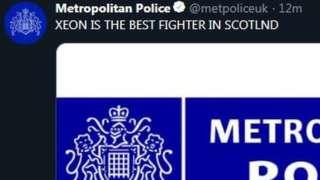 Screengrab of hacked Met Police tweet
