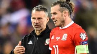 Gareth Bale (right) with Ryan Giggs