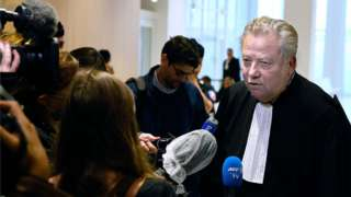 "French lawyer of the victims' families, Olivier Morice, speaks to journalists at the ""Tribunal de Paris"" courthouse in Paris, 15 June 2020"