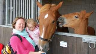Visitors looking at horses at the Suffolk Show