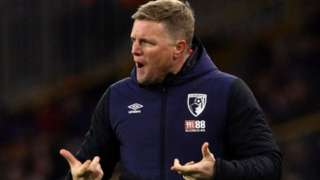 Bournemouth manager Eddie Howe stands on the touchline