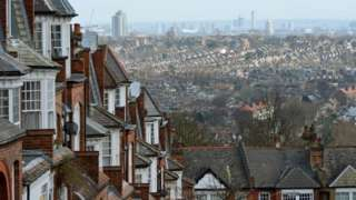 Terraced houses in Muswell Hill towards Crouch End