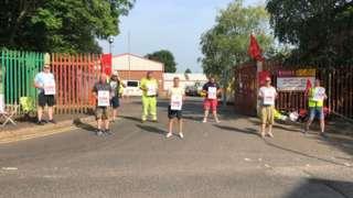 Workers on strike in Woodburn depot