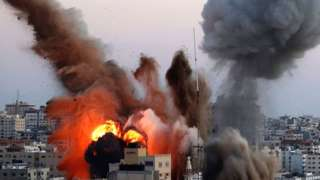 Smoke billowing into sky after attack on Gaza City