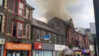 Fire at Dunraven Street, Tonypandy, Rhondda Cynon Taf