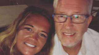 Alex Gibson and her father on holiday