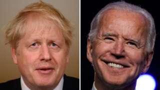 Composite image of Boris Johnson and Joe Biden