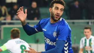 Rangers centre-half Connor Goldson is left disappointed by a header off the bar