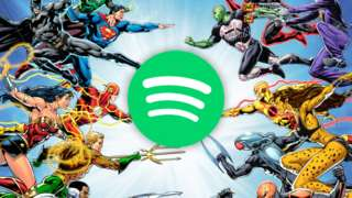Spotify logo among superheroes