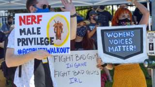 Blizzard Entertainment employees and supporters protest for better working conditions in Irvine