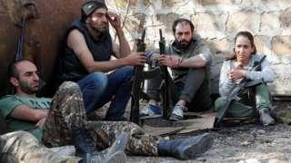 Armenian military volunteers rest in Yerevan, Armenia 27 October 2020