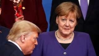 法国总统马克龙、德国总理默克尔和美国总统特朗普2019年12月出席北约峰会。