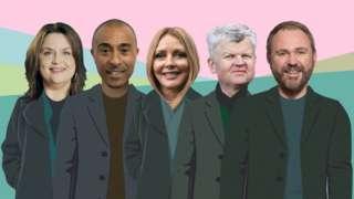 Ruth Jones, Colin Jackson, Carol Vorderman, Adrian Chiles, Scott Quinnell