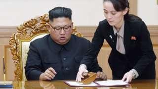 Image shows North Korean leader Kim Jong-un being assisted by his sister Kim Yo-jong