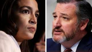 Composite photo showing Alexandria Ocasio-Cortez and Ted Cruz