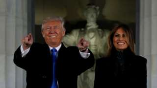 President-elect Donald Trump and his wife Melania take part in a Make America Great Again in Washington DC on 19 January 2017