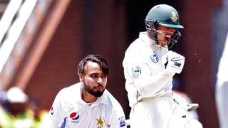 South Africa's Quinton de Kock celebrates a Test century against Pakistan