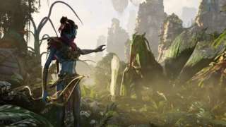 A blue-skinned alien from the Avatar film series stretches a hand out to a flying animal in this game screenshot